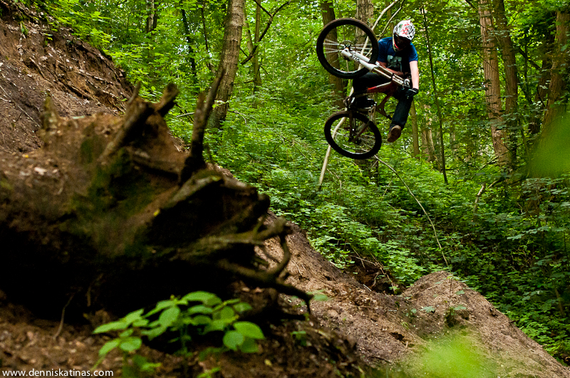 One Footed Table Top Jean Dirt Mountain Biking