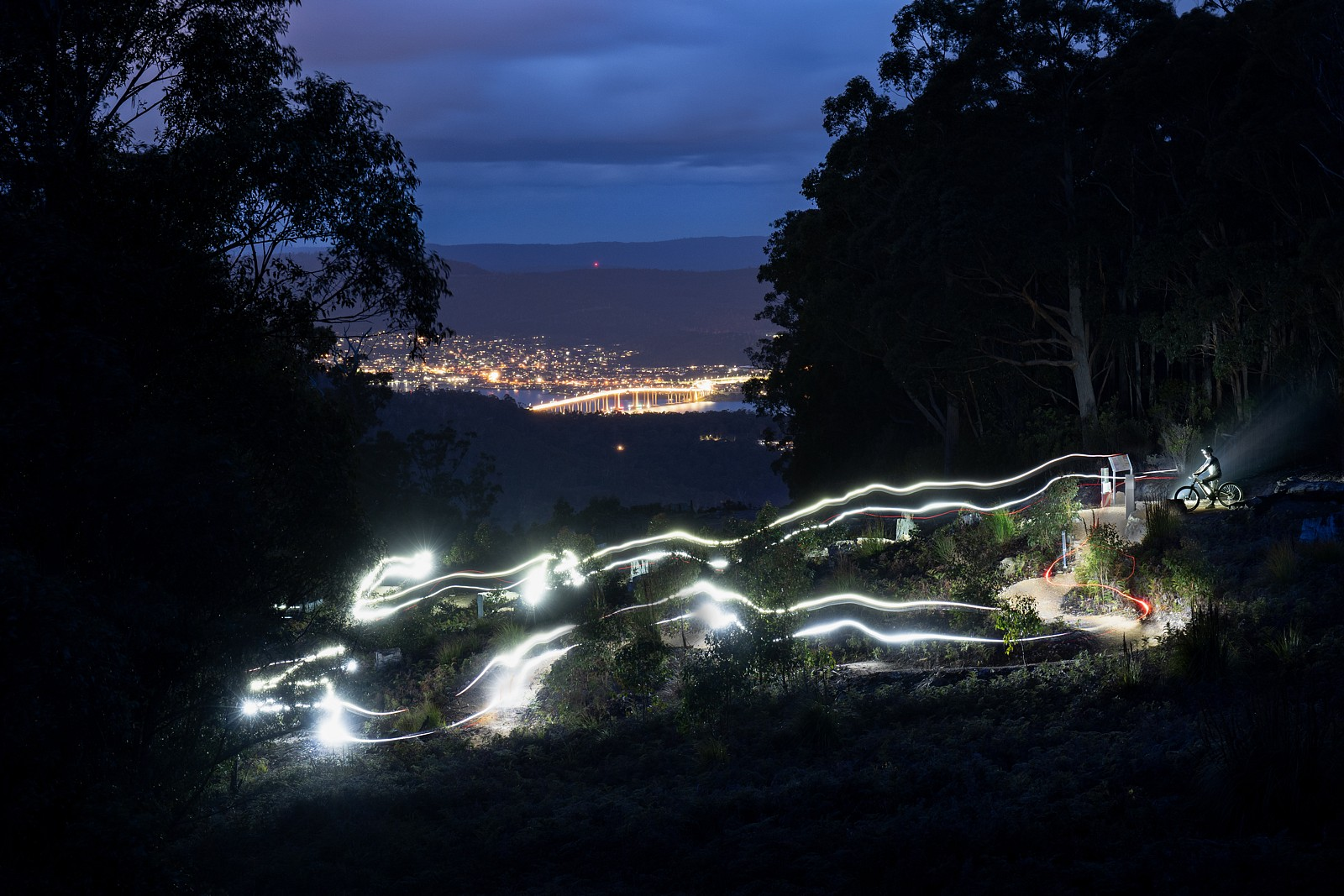 Electric night riding in the foothills of kunanyi - digitalhippie - Mountain Biking Pictures - Vital MTB