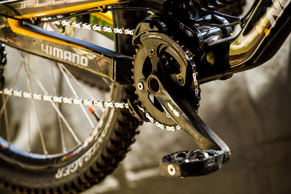 Dylan Conte's Zee Cranks and Bash Guard - Pit Bits, US National Championships Angel Fire, NM - Mountain Biking Pictures - Vital MTB