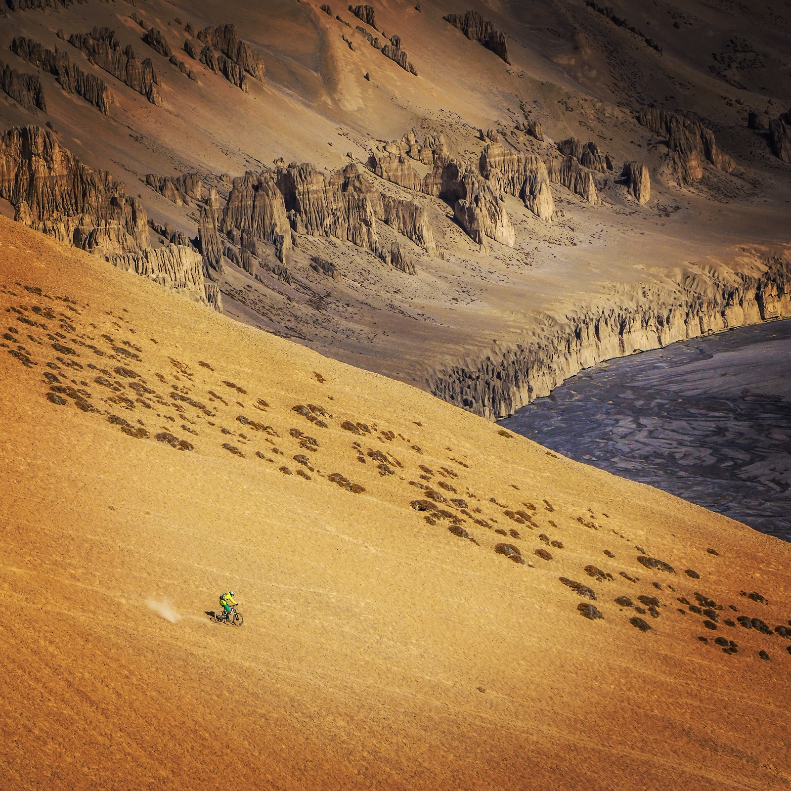 Riding the slopes above the Sumkhar River in Ladakh at over 14,000 ft - Malcolm Mclaws - Mountain Biking Pictures - Vital MTB