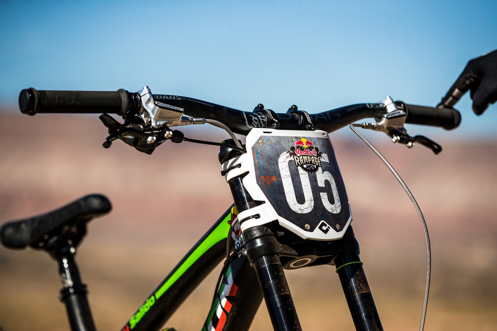 Number Plate on Juan Diego Salido's Transition TR11 at Rampage 2019 - RAMPAGE BIKE - Juan Diego Salido's Transition TR11 - Mountain Biking Pictures - Vital MTB