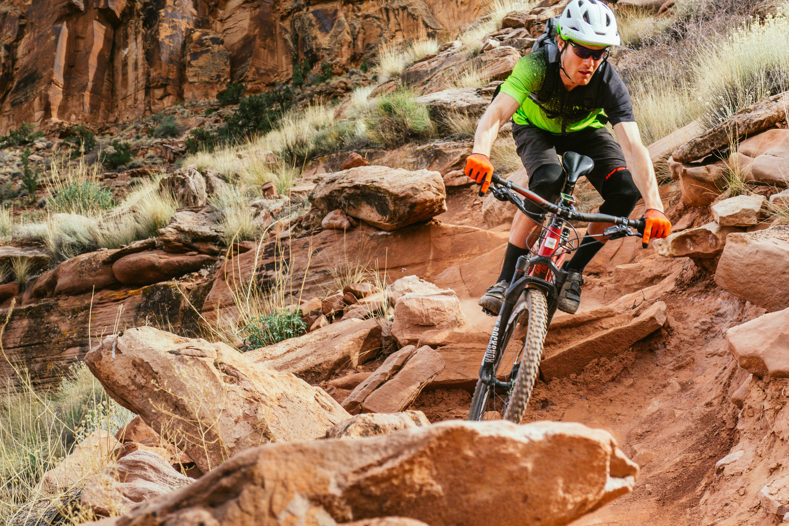 Alex 'KrunkShox' McGuinnis puts the new Pike to good use on a tricky section of Jackson's trail in Moab.