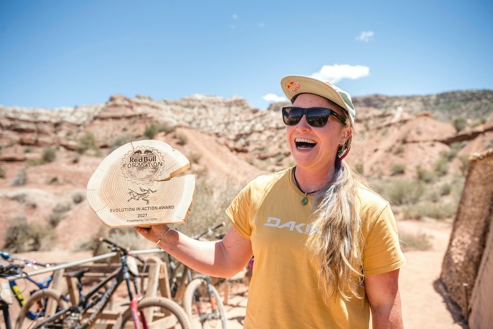 Hannah Bergemann receives the Evolution in Action Award presented by event sponsor Arc'Teryx at Red Bull Formation.