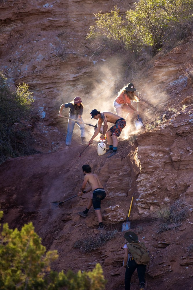 Carson Storch, Jess Blewitt, Vinny Armstrong and their diggers work on a line at Red Bull Formation.